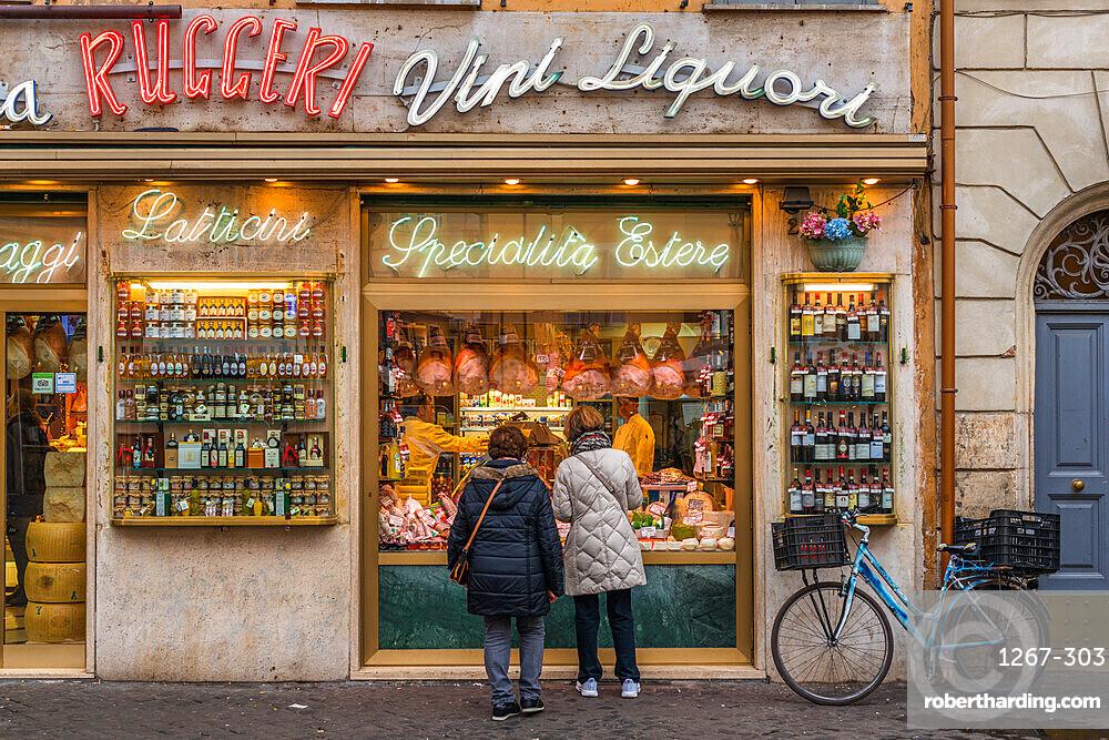 Grocery storefront at Campo de Fiori square, Rome, Lazio, Italy.