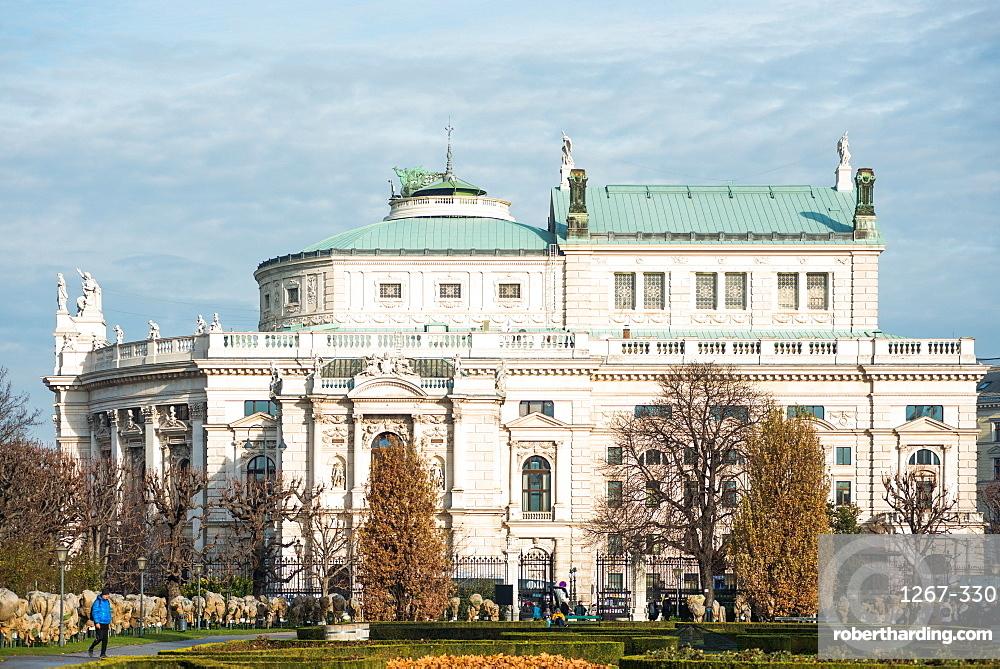 Volksgarten (People's Garden) public park with historic Burgtheater (Austrian national theatre), Vienna, Austria.