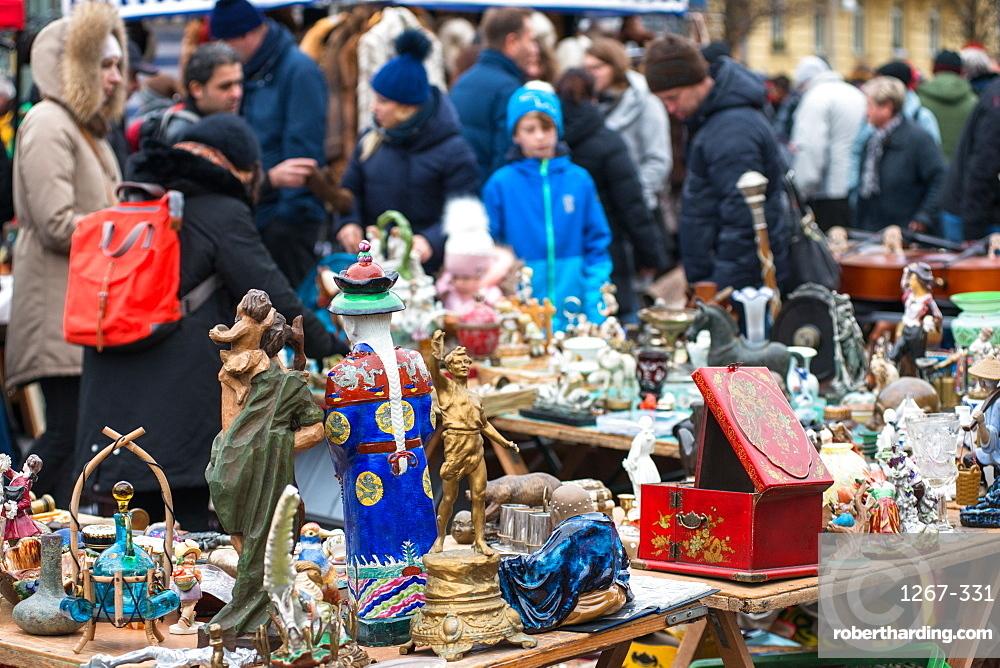 Vienna Naschmarkt Linke Wienzeile flea market antique market. Austria.