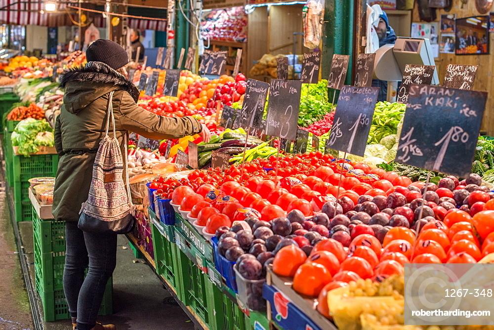 Fruit and veg on display at Naschmarkt open food market in Vienna, Austria.