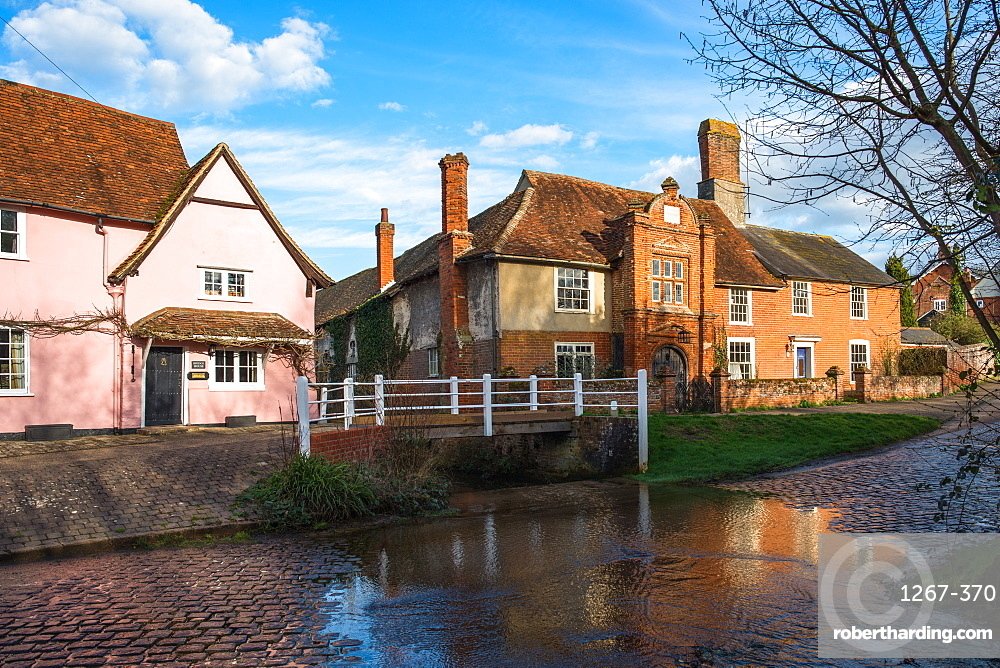 Ye Olde River House built 1490 opposite the ford at picturesque Kersey village, Suffolk, England, UK.