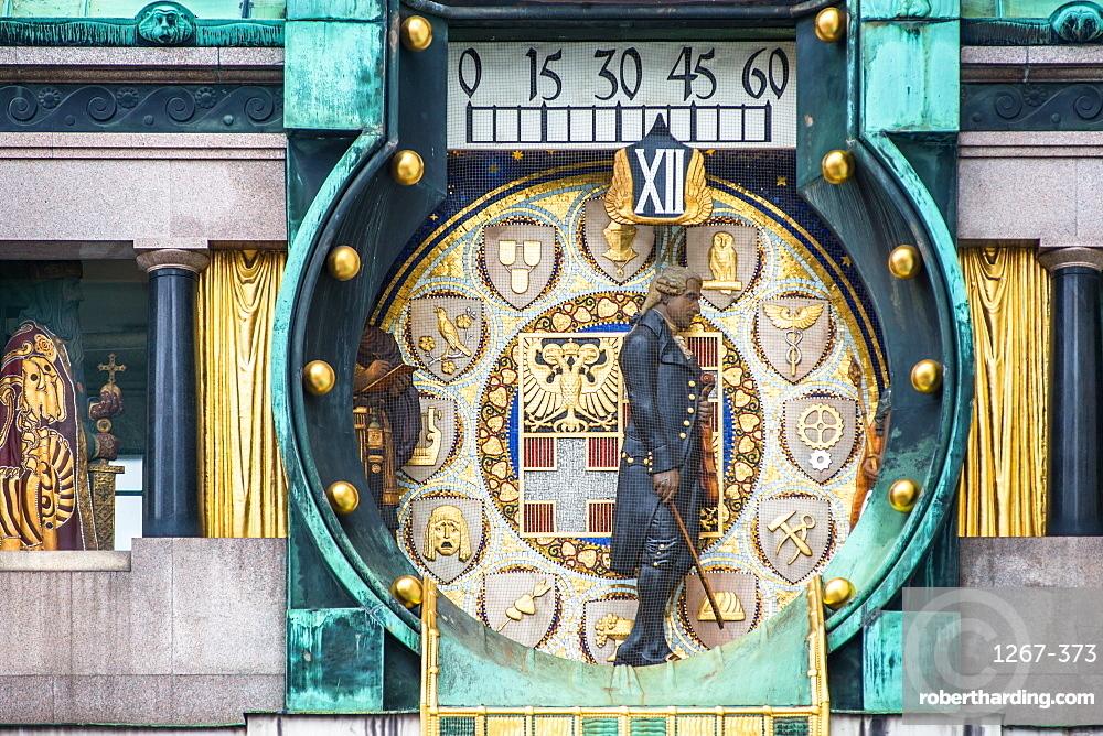Ankeruhr (Anker clock) at Hohen Markt square, famous astronomical clock in Vienna, Austria built by Franz von Matsch.