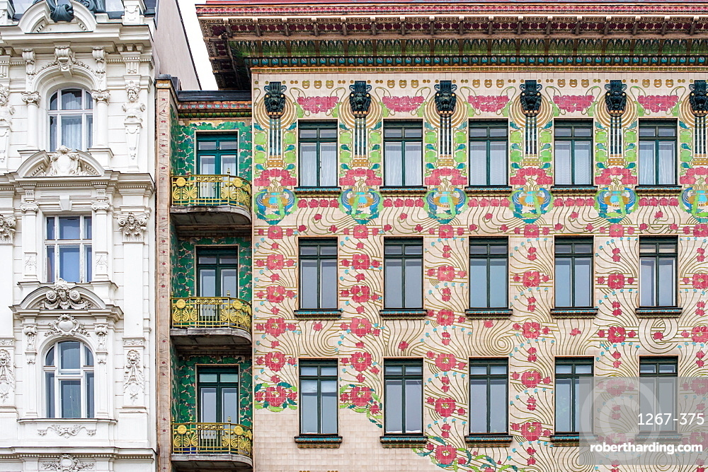 The Art Nouveau facade of the Majolikahaus opposite Naschmarkt market, Vienna, Austria.