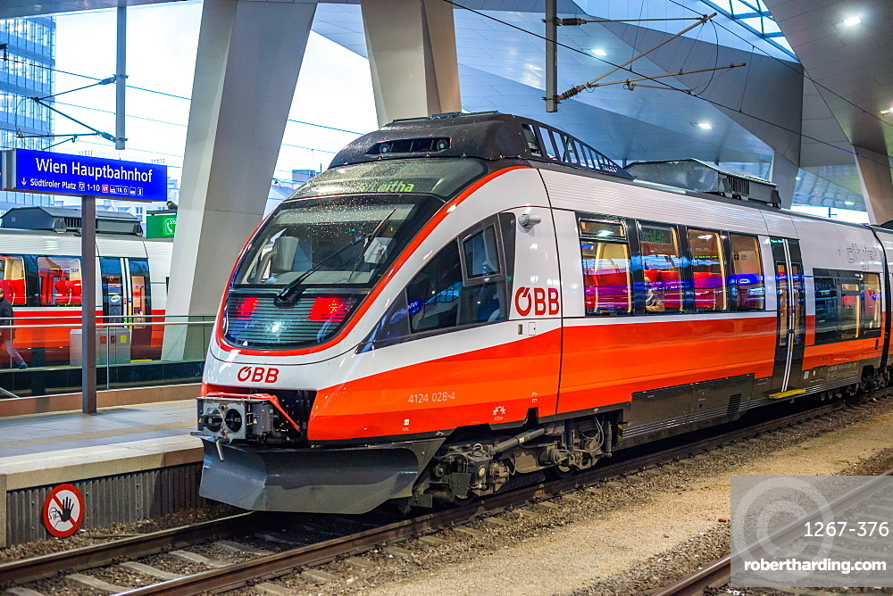 ÖBB Talent railcar train at Vienna Central station Hauptbanhauf, Austria.