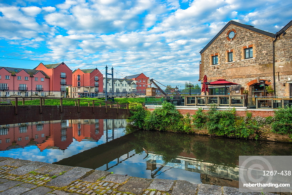 The Quay or Quayside in Exeter in early morning. Devon. England. UK.
