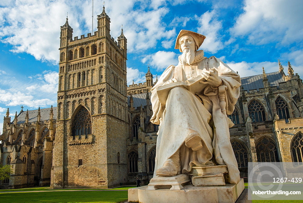 Exeter Cathedral with statue of Richard Hooker. Devon. England. UK.