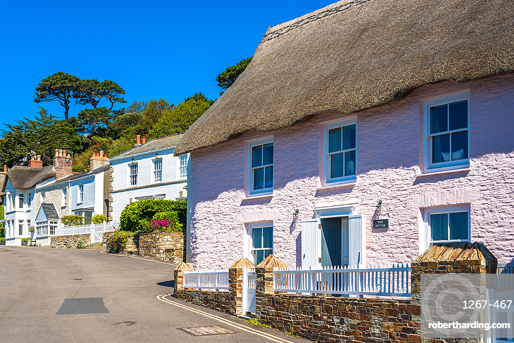 Scenic cottages on the seafront of St. Mawes, Cornwall, England, United Kingdom, Europe.
