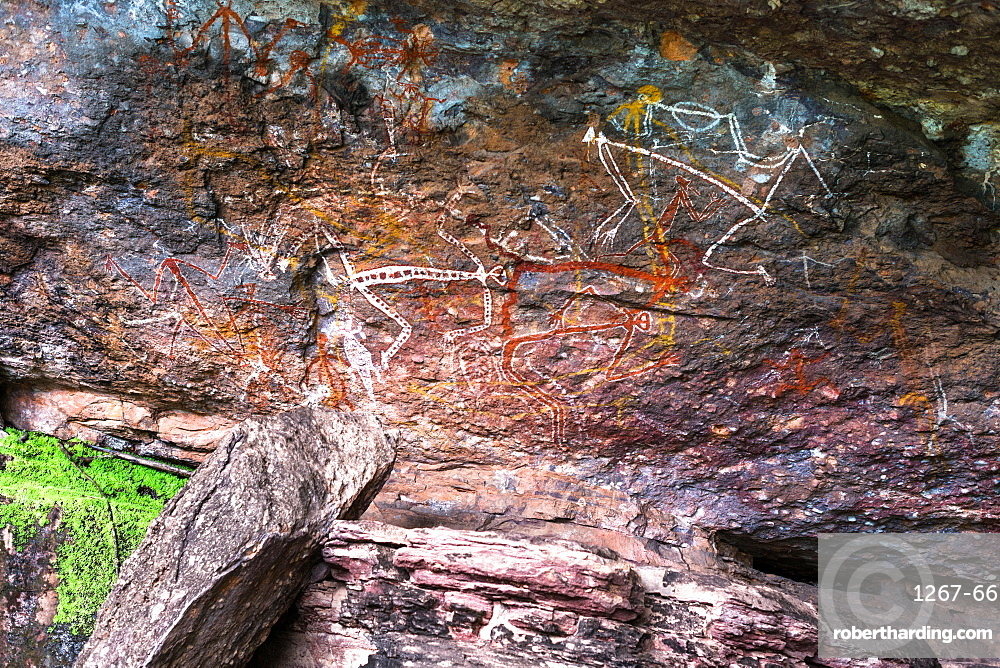 Indigenous rock art at Nourlangie, Kakadu National Park, UNESCO World Heritage Site, Northern Territory, Australia, Pacific