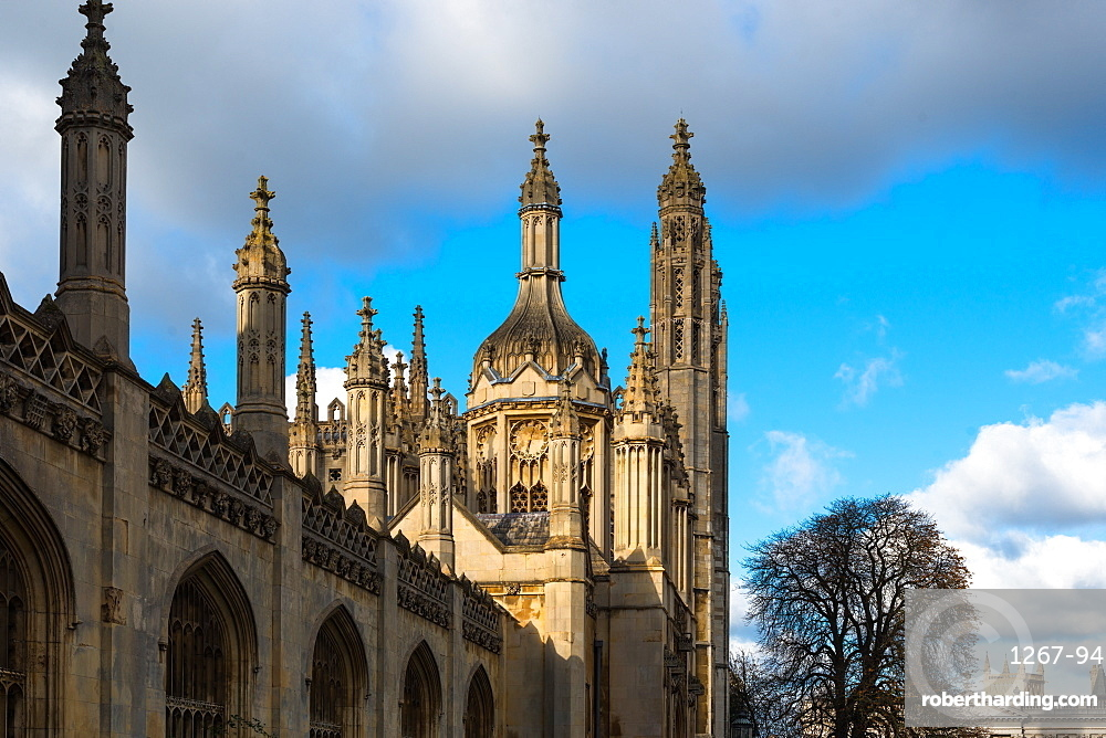 Kings College Spires and main gate, Cambridge university, England, UK.