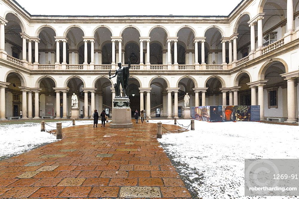 Courtyard of Honor of the Palace of Brera during snowfall, Milan, Lombardy, Northern Italy, Italy, Europe