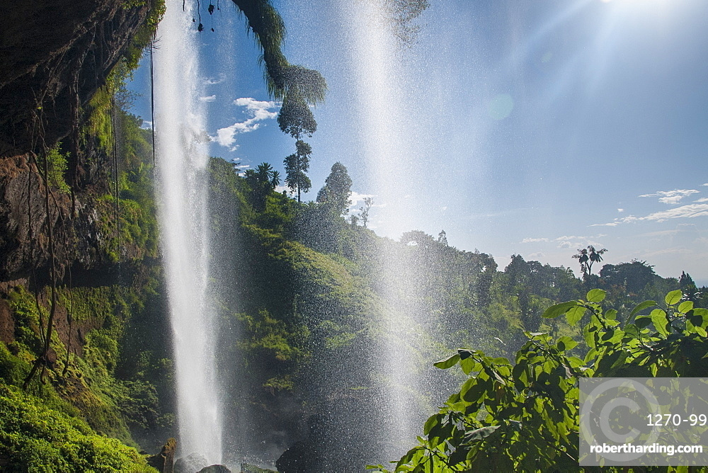 Looking out from under Sipi Falls, Uganda, Africa