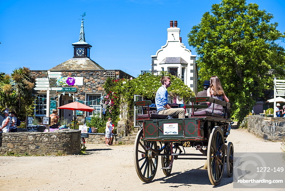 Horse and cart on Sark Island, Channel Islands, United Kingdom, Europe