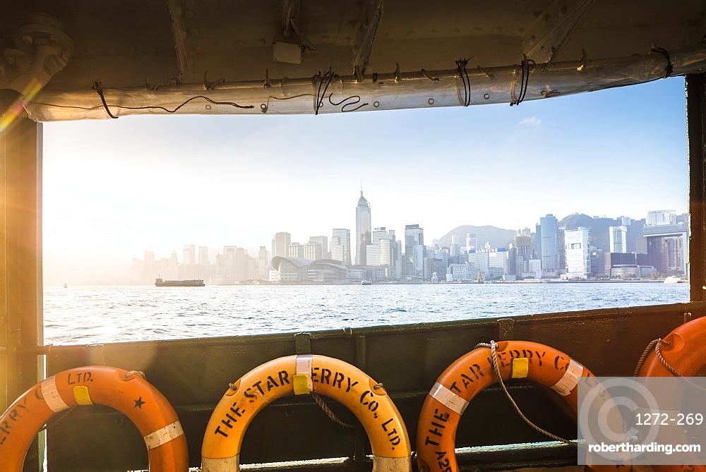 Star Ferry at sunrise with Hong Kong Island behind, Hong Kong, China, Asia