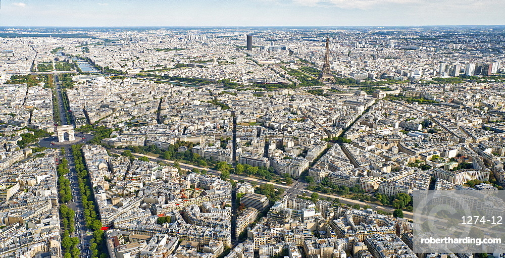Aerial view of Paris with the Arc de Triomphe, the Eiffel Tower and the River Seine, Paris, France, Europe