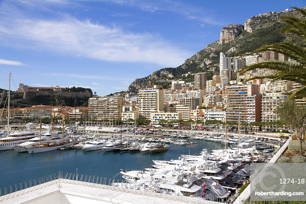 View of the Harbor of Monaco Ville (Porte Hercule) with its Luxury Ships in the French Reviera