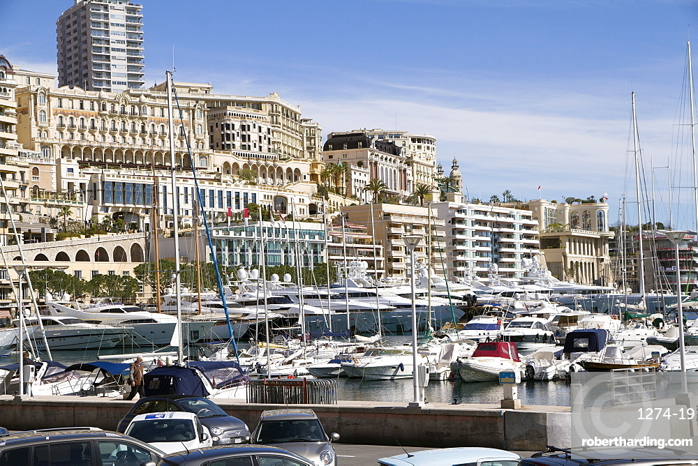 View of the Harbor of Monaco Ville (Porte Hercule) with its luxury ships, Monaco, French Riviera, Mediterranean, Europe