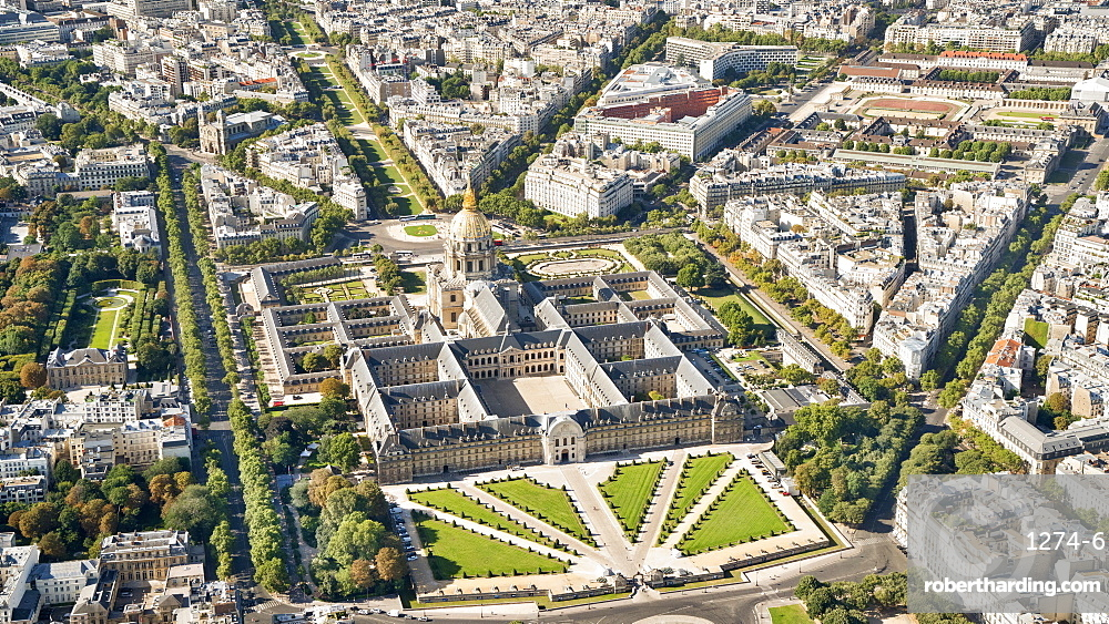 Aerial view of Hotel des Invalides, Paris, France, Europe