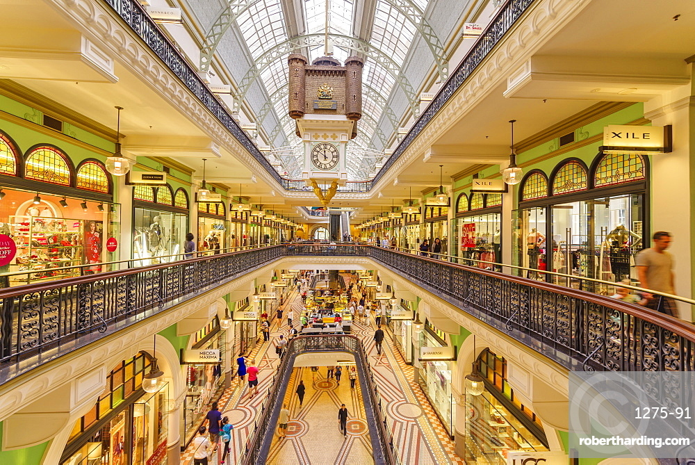 Queen Victoria Building mall interior on a weekend, Sydney, New South Wales, Australia, Pacific