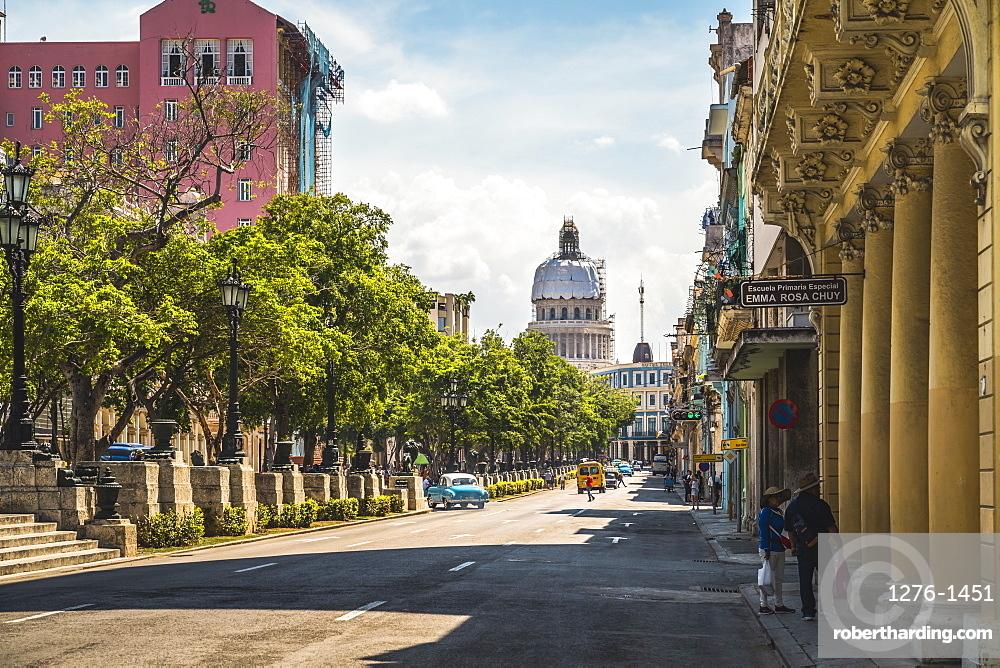 El Capitolio and Paseo del Prado in La Habana, Havana, Cuba, West Indies, Caribbean, Central America