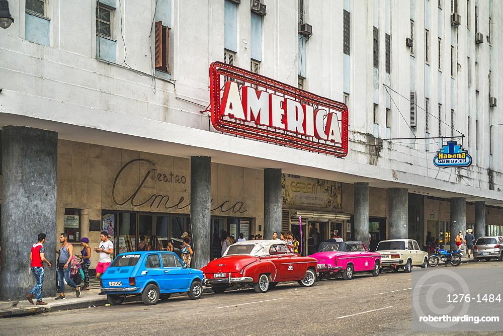 old vintage cars parked outside Teatro America, La Habana, Havana, Cuba, West Indies, Caribbean, Central America
