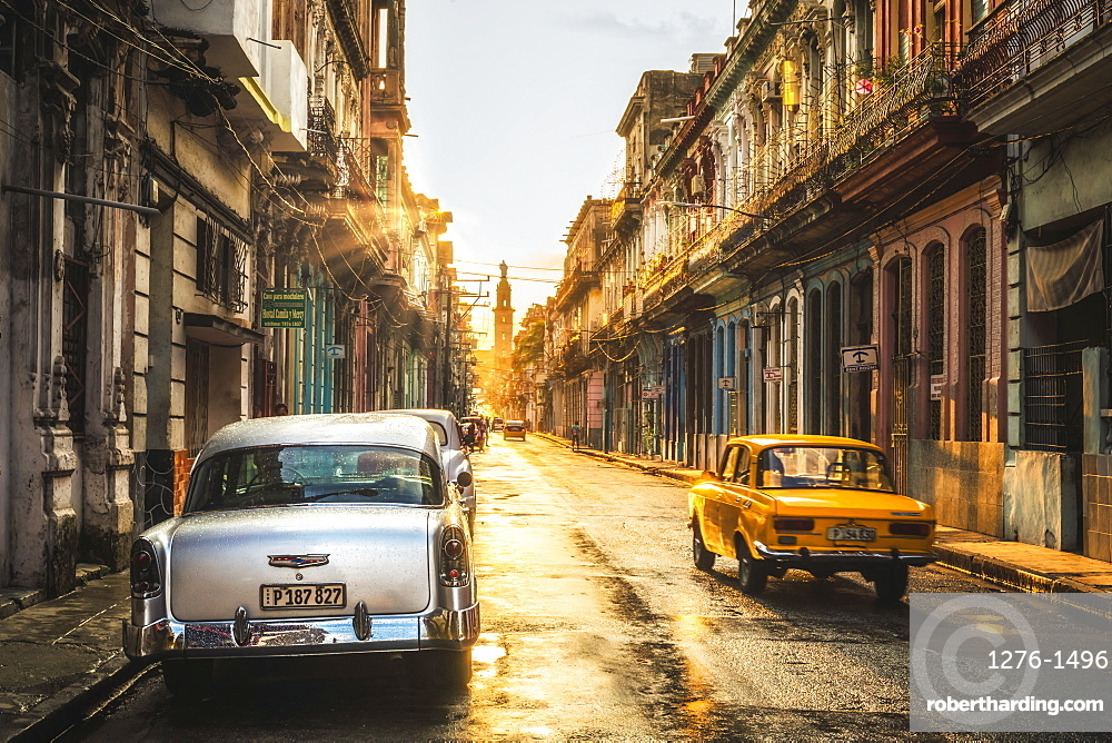 American and Russian vintage cars at sunset, La Habana, Havana, Cuba, West Indies, Caribbean, Central America