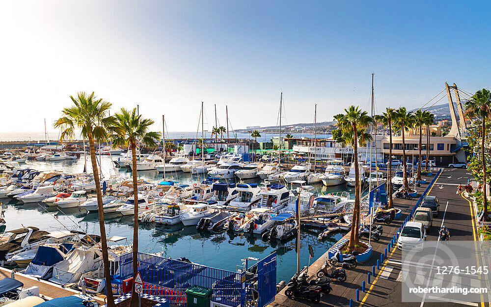 Boating port with larger sailboats in Tenerife, Canary Islands, Spain, Europe