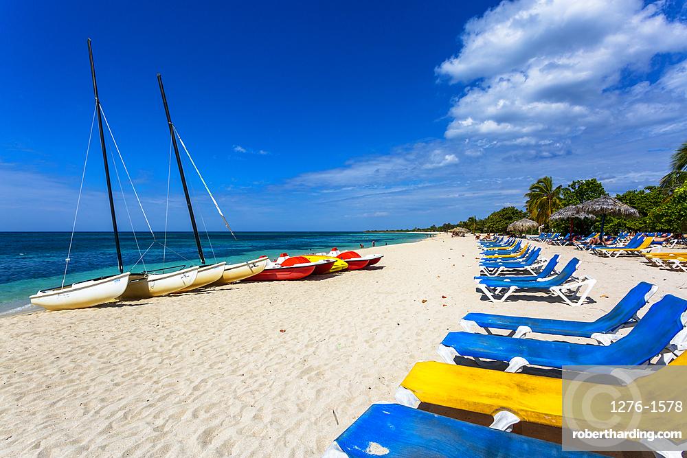Boats on the beach Playa Ancon near Trinidad, Trinidad, Cuba, West Indies, Caribbean, Central America