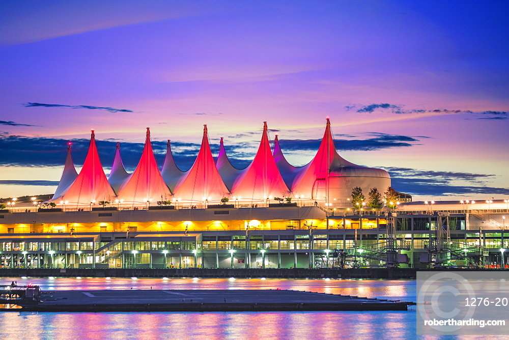 Canada Place at sunset on the Burrard Inlet waterfront of Vancouver, British Columbia, Canada, North America