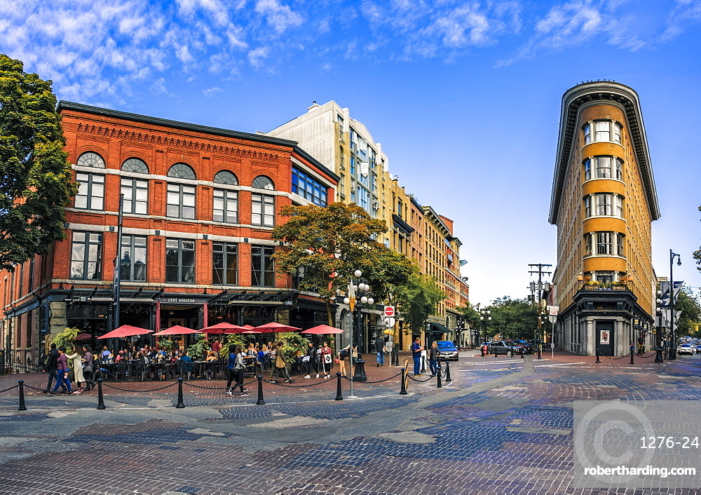 Architecture and cafe bar in Maple Tree Square in Gastown, Vancouver, British Columbia, Canada, North America
