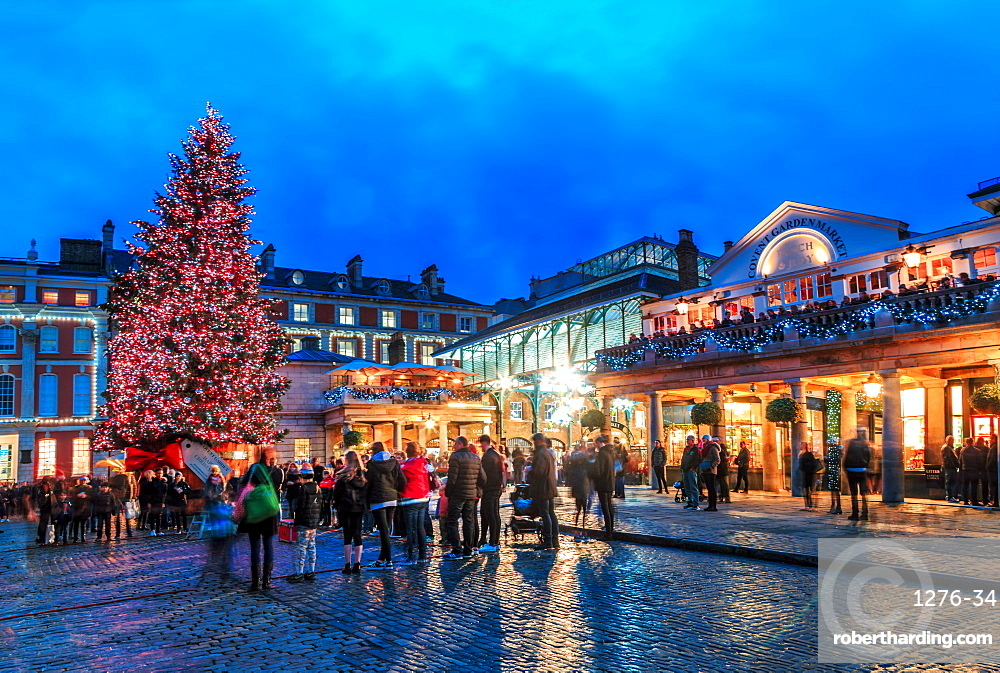 Christmas tree at Covent Garden, London, England, United Kingdom, Europe