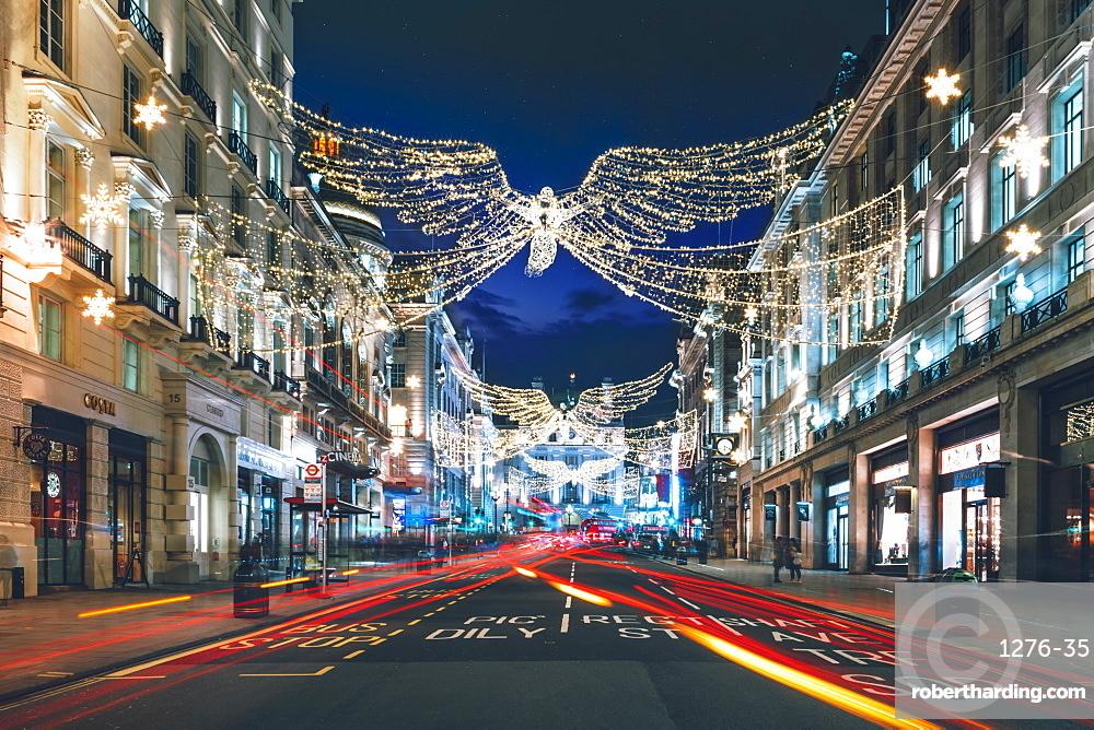 Festive Christmas lights in Regent Street at night in 2017, London, England, United Kingdom, Europe