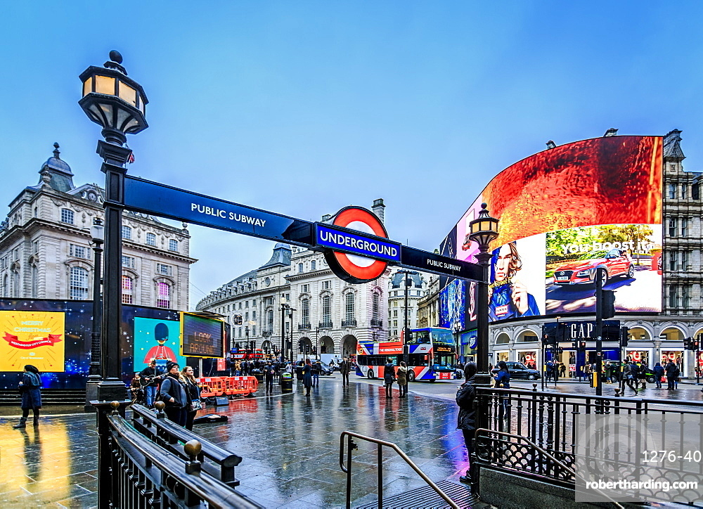 Entrance to tube station, advertisement, Piccadilly Circus, London, England, United Kingdom, Europe
