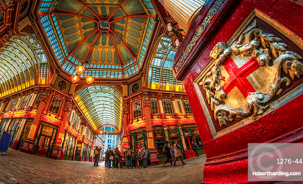 Fisheye view of interior of Leadenhall Market, The City, London, England, United Kingdom, Europe