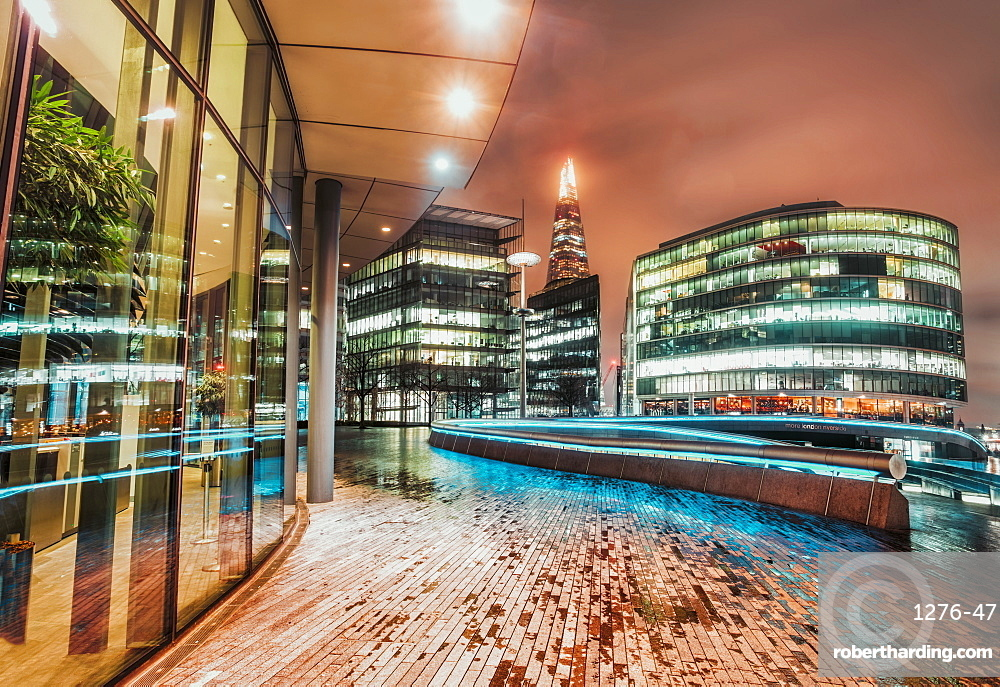Fisheye view of The Scoop London and The Shard visible in background at night, Southwark, London, England, United Kingdom, Europe