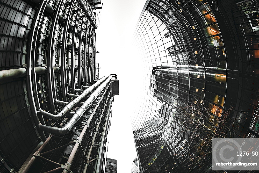 Fisheye view of Lloyds and Willis buildings, financial district, City of London, England, United Kingdom, Europe