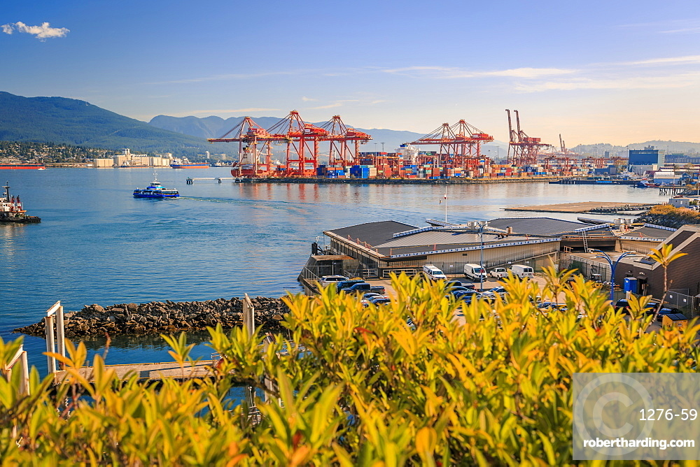 View of North Vancouver, Waterfront and Harbour from Granville Plaza, Vancouver, British Columbia, Canada, North America