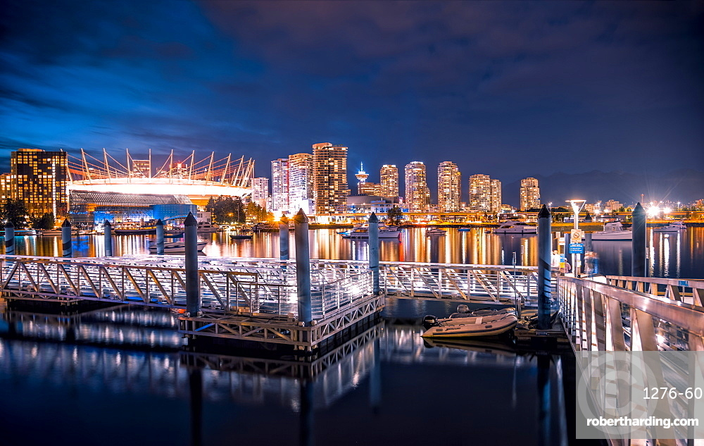 View of False Creek and Vancouver skyline, BC Place and Lookout Tower, Vancouver, British Columbia, Canada, North America