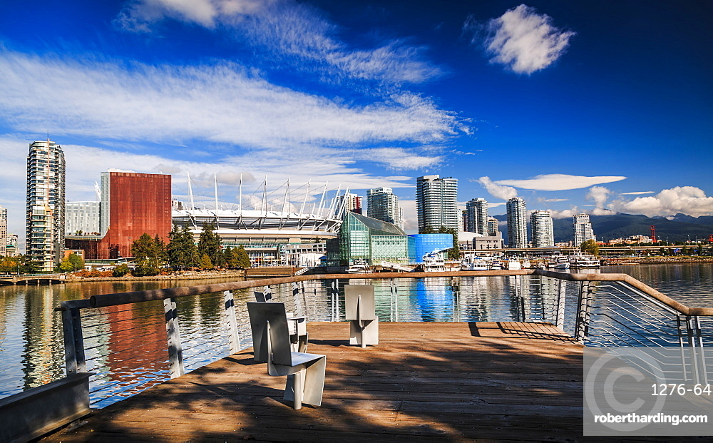 View of False Creek and Vancouver skyline, including BC Place, Vancouver, British Columbia, Canada, North America