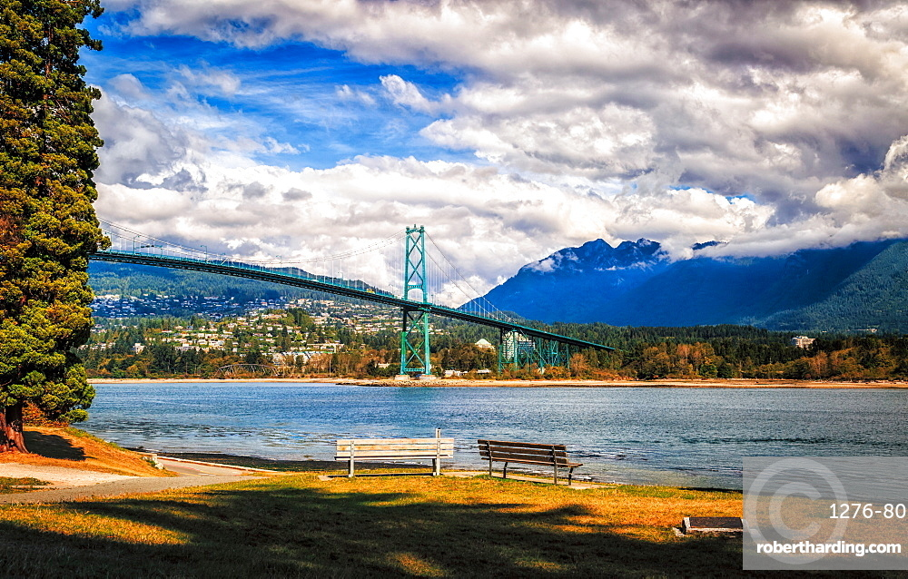 Vancouver Bridge as seen from Stanley Park, Vancouver, British Columbia, Canada, North America