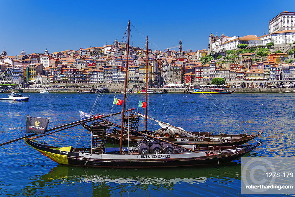 Ships used to carry port wine, moored in Vila Nova de Gaia on the Douro River, with Ribeira in the background, Porto, Portugal, Europe