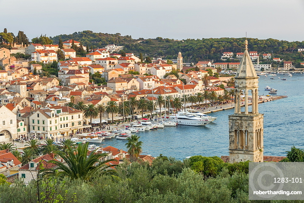 Scenic view over Hvar Town at sunset