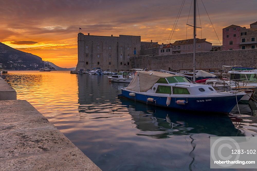 The old port of Dubrovnik at sunrise, Croatia, Europe