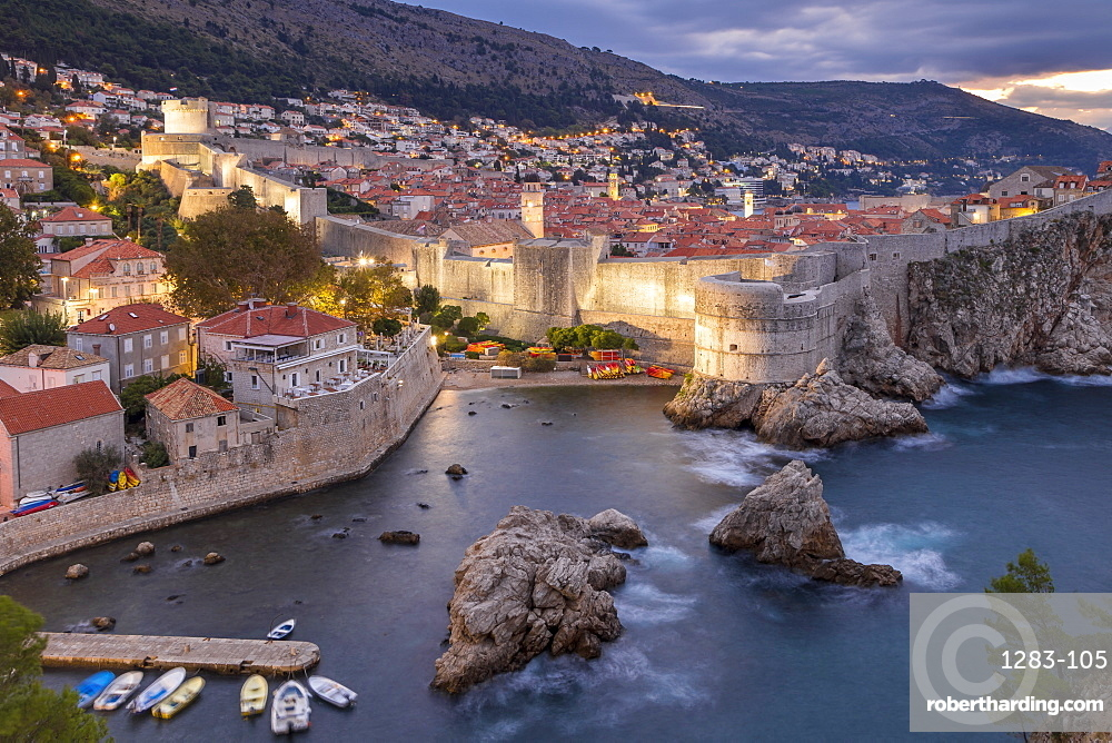 View at dawn from the Lovrijenac Fortress over the walled old town of Dubrovnik, UNESCO World Heritage Site, Croatia, Europe