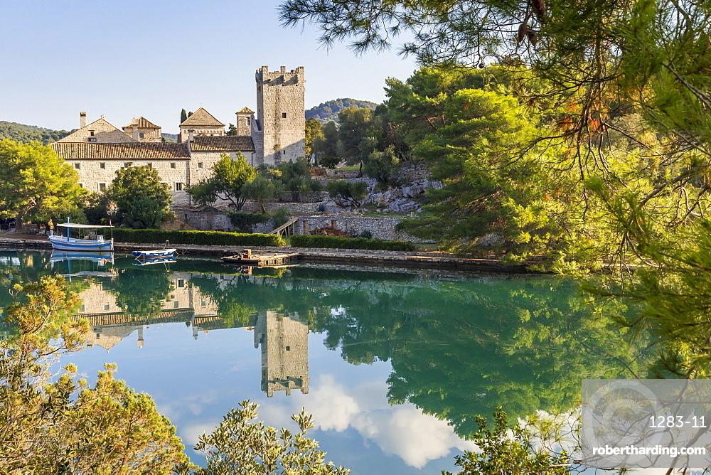 Monastery of Saint Mary at Veliko Jezero (Big lake) on Mljet Island, Croatia, Europe