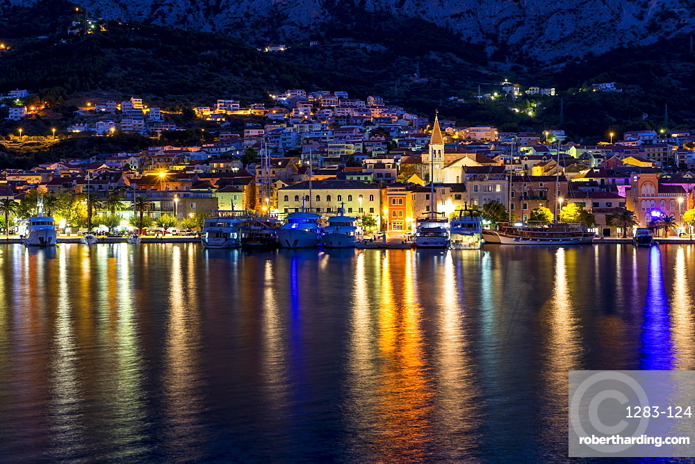 Cityscape of Makarska at dawn, Croatia, Europe