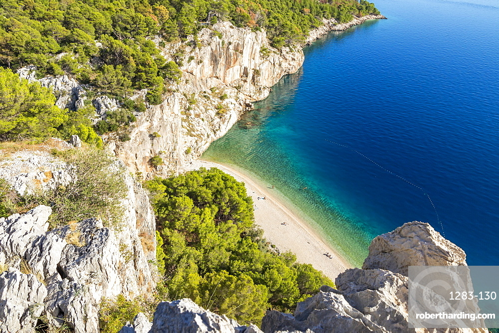 Elevated view over Nugal Beach near Makarska, Croatia, Europe