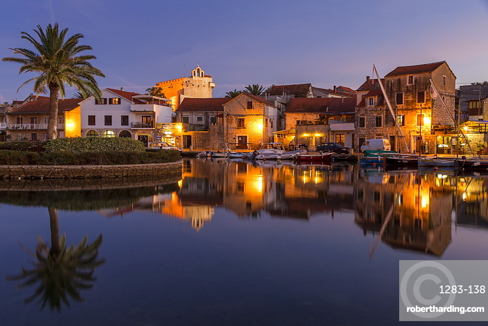 The old town of Vrboska on Hvar Island at dusk, Croatia, Europe