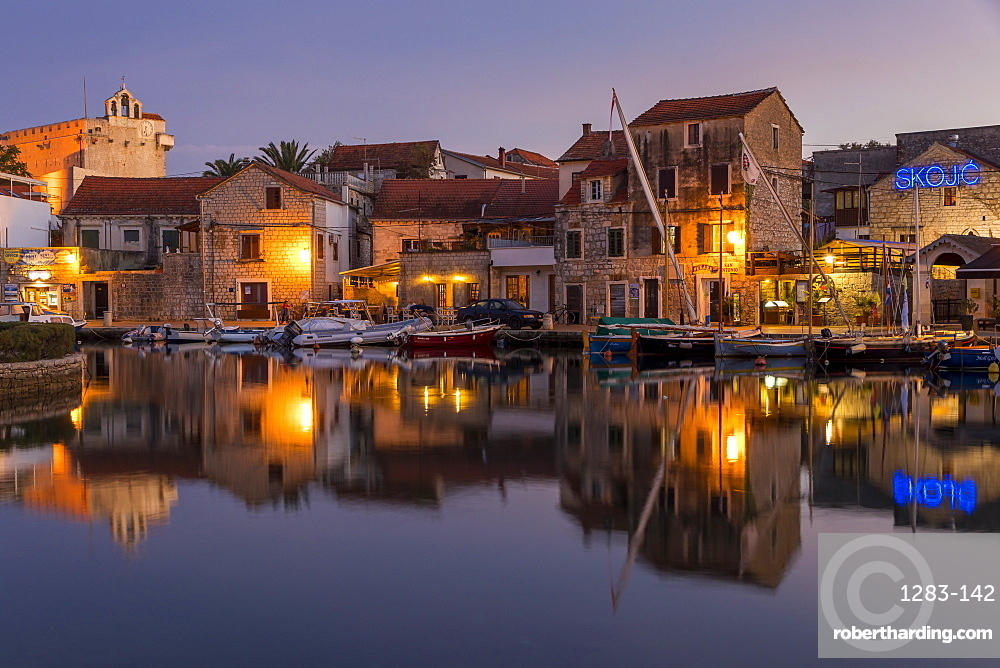 The old town of Vrboska on Hvar Island at dusk, Hvar, Croatia, Europe