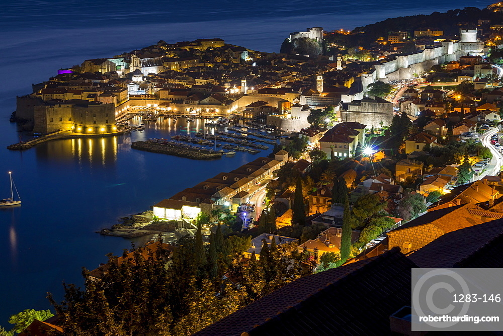 High-angle view over the old town of Dubrovnik at dusk