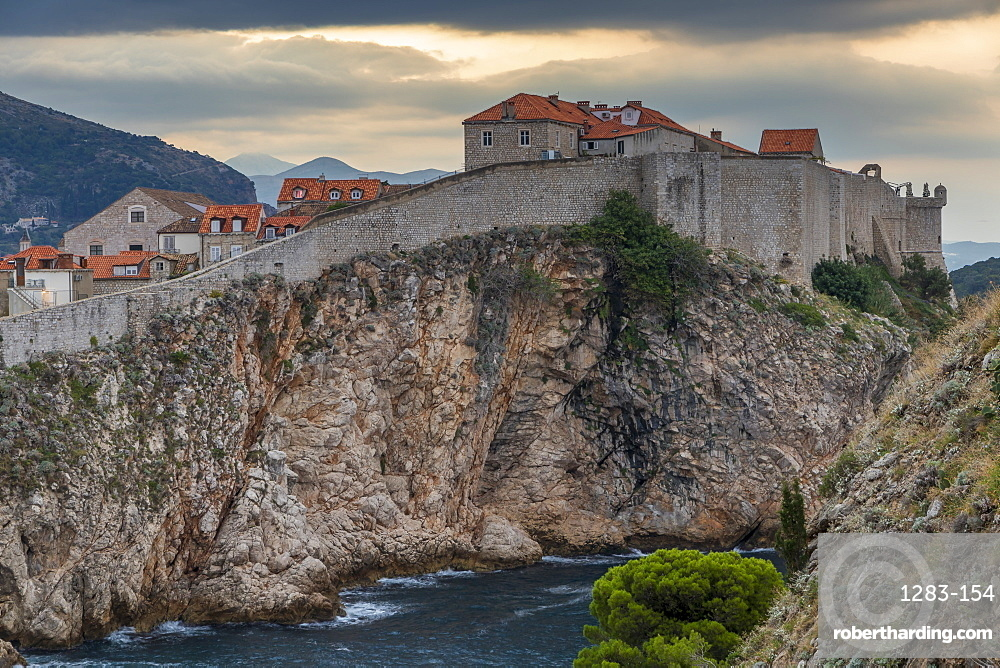 View from Lovrijenac Fortress to the city walls of Dubrovnik at sunrise, UNESCO World Heritage Site, Croatia, Europe
